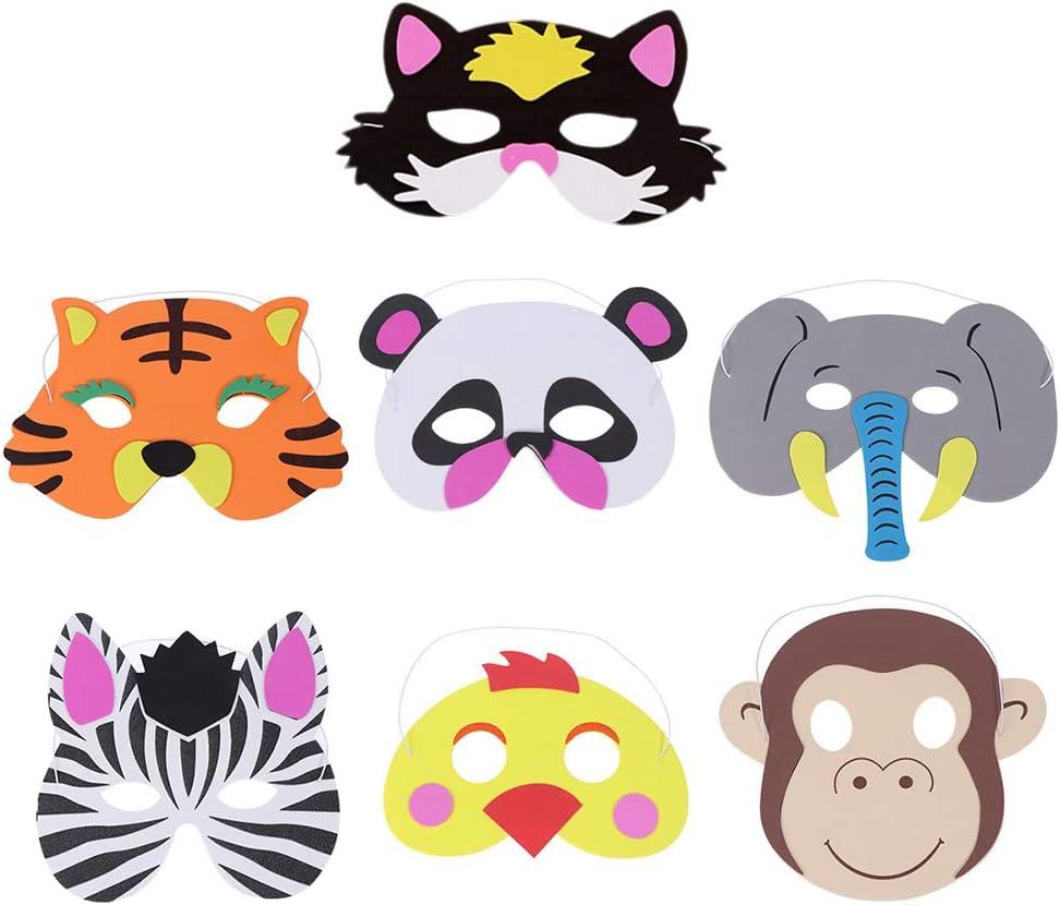 DANGSHAN 18pcs Animal Felt Masks Party Favors for Kid Halloween Masks Dress-Up Party Accessory Jungle Safari Theme Birthday Party