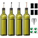 Olive Oil Dispenser Bottle-4 Pack of 17 oz Glass Olive Oil Bottles with Easy Pour Spout Set - Oil and Vinegar Cruet Set…