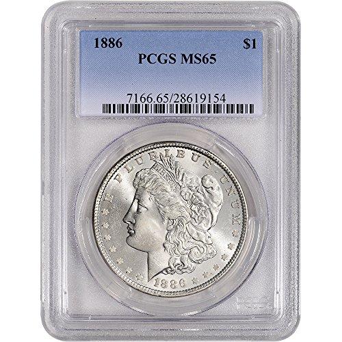 1886 US Morgan Silver Dollar $1 MS65 PCGS