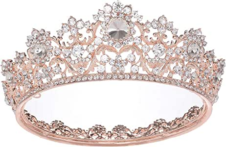 S SNUOY Rose Gold Rhinestone Bridal Queen Crown Full Round Tiara for Women or Girls Wedding Pageant Prom