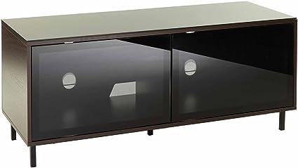 Negro & Nogal brillante mueble, haz a través de puertas de vidrio ...