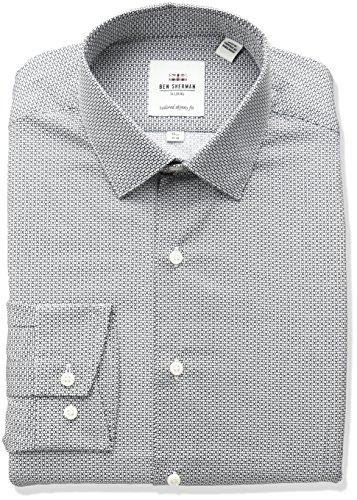 Ben Sherman Men's Broken Circle Print Spread Collar Dress Shirt