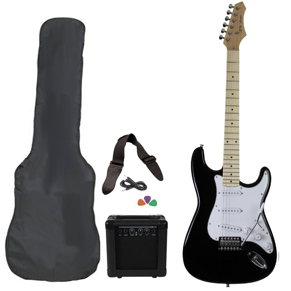 Black Full Size Electric Guitar Package With Amp Case Picks & Strap