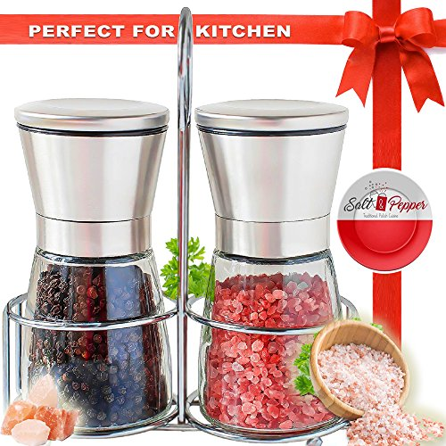 Salt and Pepper Grinder Set with Stand | Best Salt and Pepper Shakers - Adjustable Coarseness & Ceramic Mechanism - Premium Quality Stainless Steel & Glass - Salt and Pepper Mill - Perfect for Kitchen