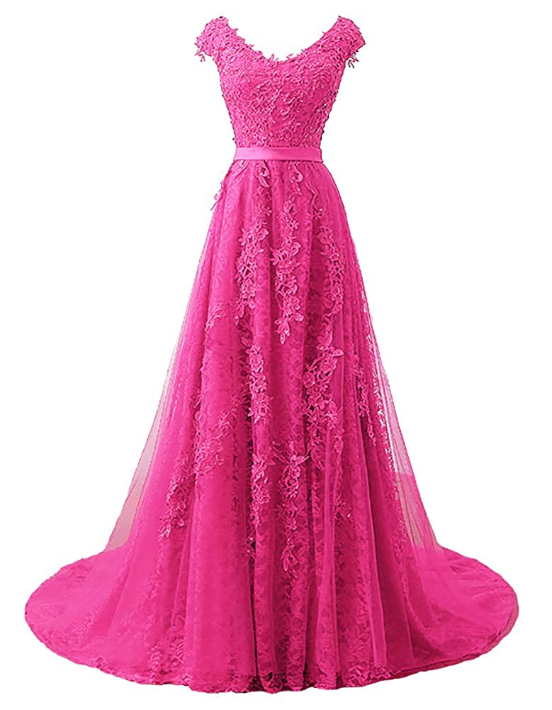 Hot Pink Baixia Womens Tulle Lace Embroidery Prom Wedding Party Fromal Dresses