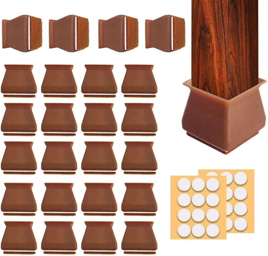 24Pcs Chair Leg Caps Square,1.37-1.57''Chair Leg Protectors for Hardwood Floors,Silicone Table Leg Floor Protectors with Felt Pads,Anti-Slip Furniture Silicon Protection Covers(Adhesive Dots As Gift)