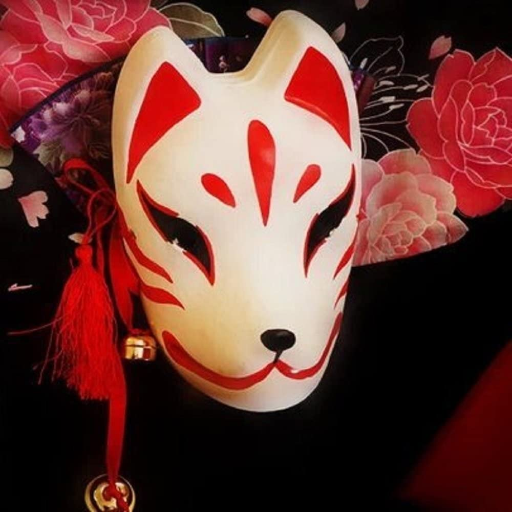 Japanese Traditional Style Cat Mask Cosplay Costume for Halloween Party