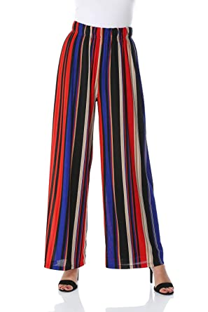Roman Originals Women Striped Plisse Culotte Trousers