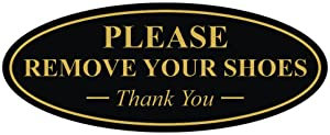 All Quality Oval Please Remove Your Shoes Thank You Sign - Black/Gold Small