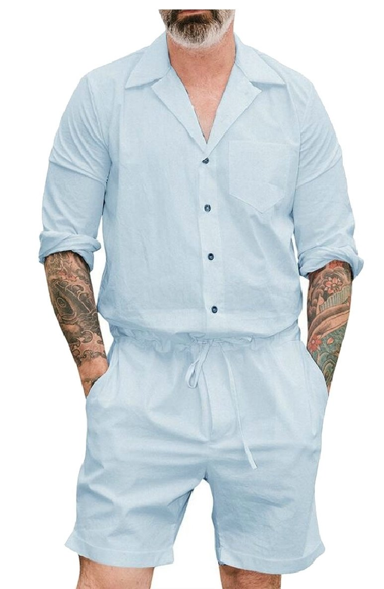 LEISHOP Men Short Sleeve Jumpsuit Short Cargo Pants Rompers Overalls