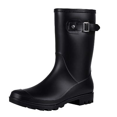 Evshine Women's Mid Calf Rain Boots Waterproof Garden Shoes | Rain Footwear