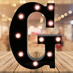 Oycbuzo Light up Letters LED Letter Black Alphabet Letter Night Lights for Home Bar Festival Birthday Party Wedding Decorative (Letter G)