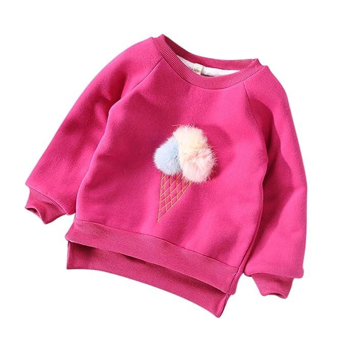 Mitlfuny Invierno Caliente Sudaderas de Manga Larga Helado Bola de Pelo Camisetas Niños Niñas Algodón Camisas
