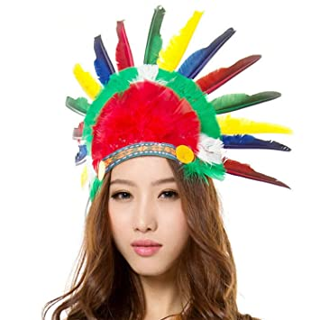 Unisex Adults Kids Native American Feather Headdress Women Girls Halloween  Carnival Festival Costume Headwear Fancy Dress 3af2b33efb2