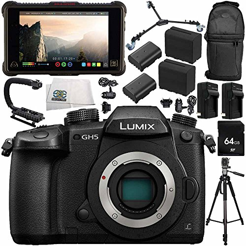 Panasonic Lumix DC-GH5 Mirrorless Micro Four Thirds Digital Camera (Body Only) + Atomos Ninja Inferno 7'' 4K HDMI Recording Monitor 14PC Bundle – Includes 64GB SD Memory Card + MORE by SSE