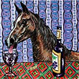 Arabian Horse at the Wine Bar art tile coaster gift