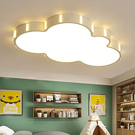 LITFAD Nordic Style Cloud Dimmable LED Flush Mount Ceiling Light Baby Room Lighting Fixture Cartoon Design Ceiling Lamp With Acrylic Lampshade In White For Girls Bedroom, Kids Room, Children Bedroom - -