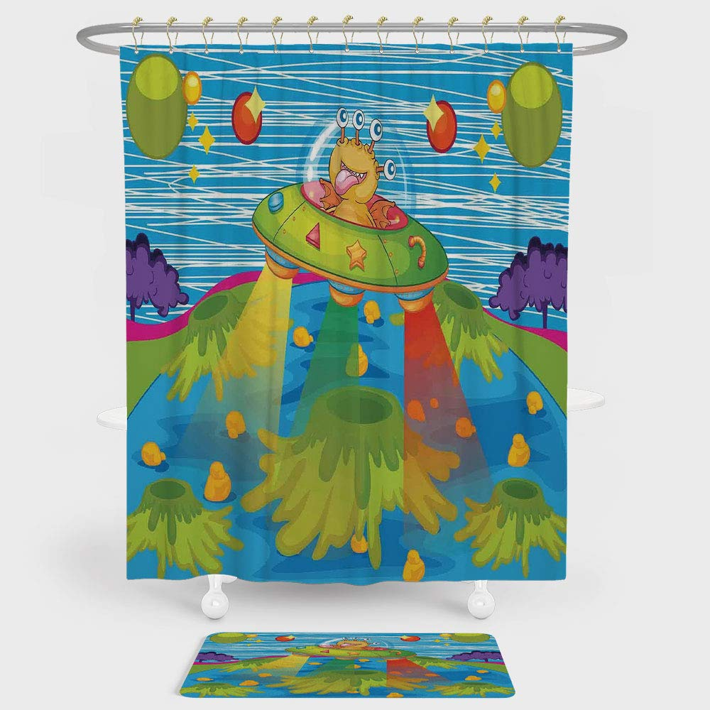 iPrint Outer Space Decor Shower Curtain And Floor Mat Combination Set For Kids Scary Monster in Ufo on Planet Solar System Galaxy Funky Back For decoration and daily use Green Blue