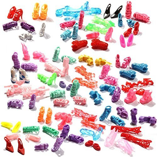50-Pairs-Different-High-Heel-Shoes-Boots-Accessories-For-Barbie-Doll