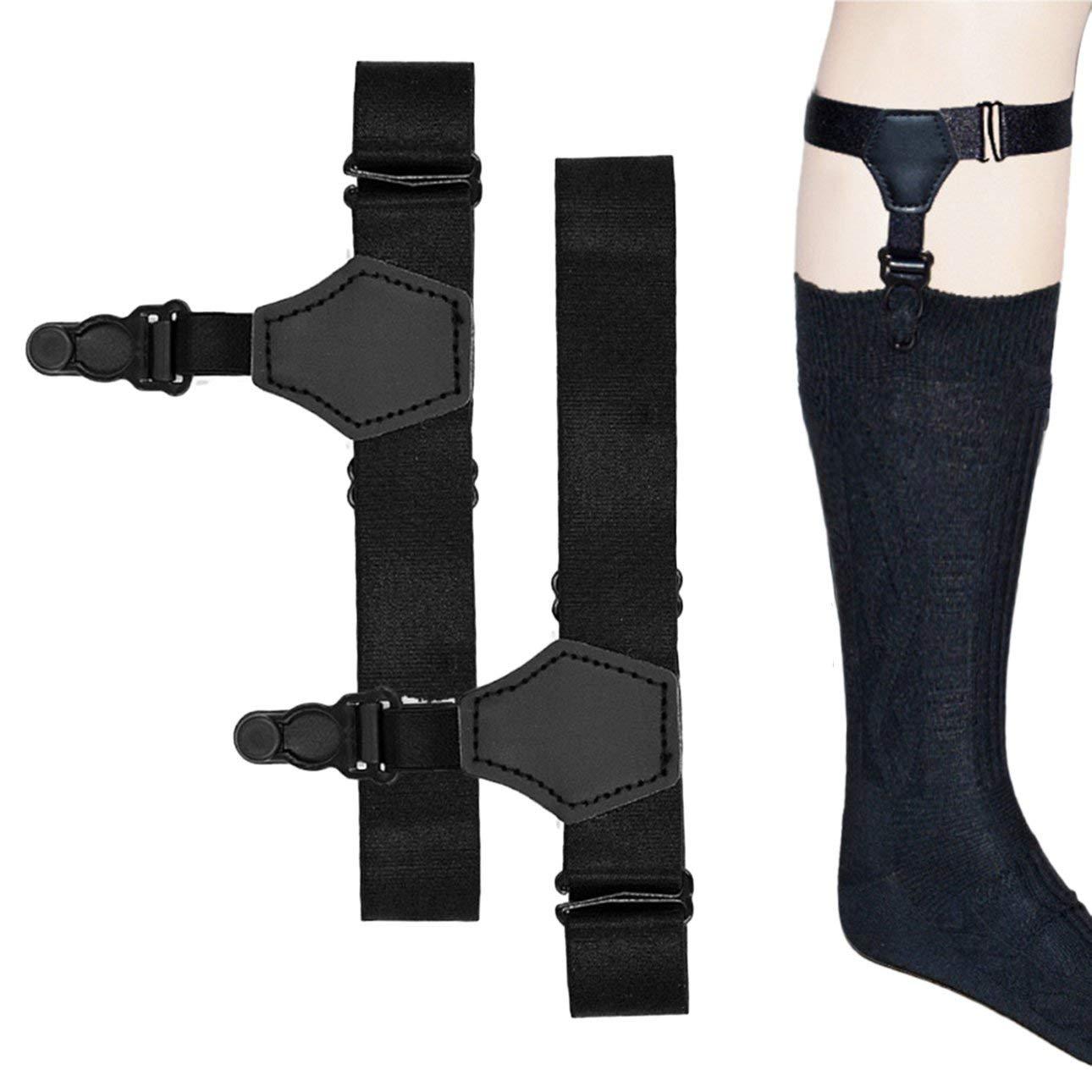 Pudincoco Men Garters 1 par de Liguero Individual Liguero Masculino Gancho Ajustable Sock Garter Liguero Alto el/ástico Accesorios Negro