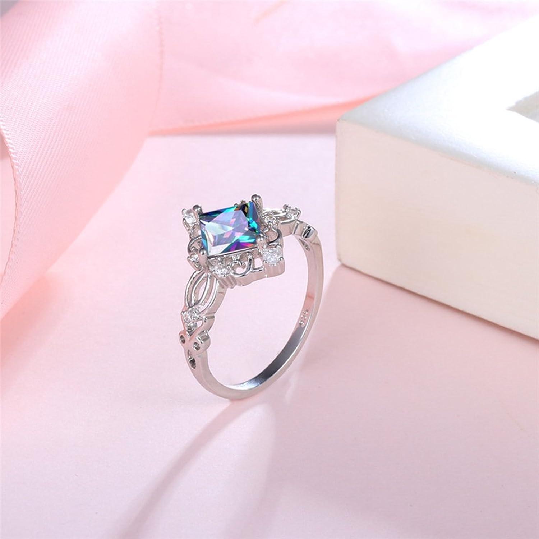 Amazon.com: Dalaran Colorful Cubic Zirconia Rings for Women Rainbow ...