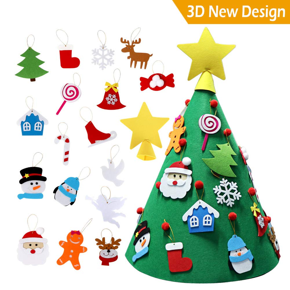 Amazon.com: AerWo 3D DIY Felt Christmas Tree, Upgraded Toddler ...