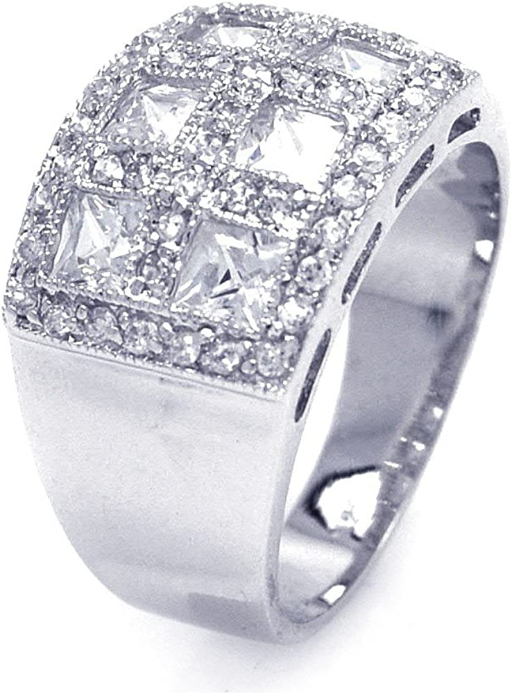 Clear Square Pave Cubic Zirconia Cigar Band Bling Bling Ring Rhodium Plated Sterling Silver