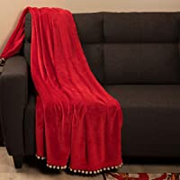 Home Centre Matrix Solid Bobble Trimmed Throw - Red