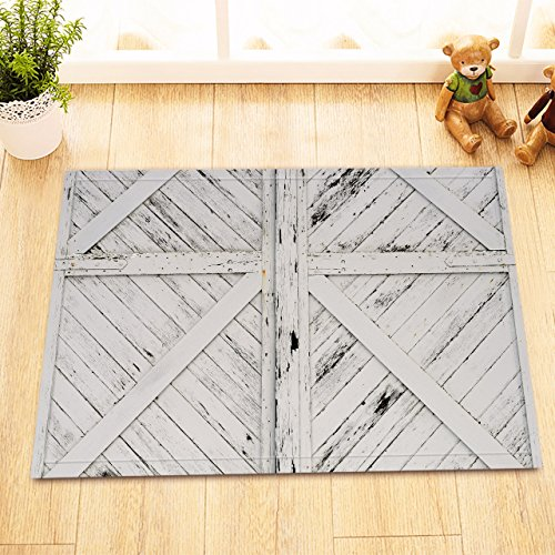 LB Rustic Barn Door White Painted Barn Wood Decor Rugs for Bathroom Bedroom, Anti Skip Rubber Backing Comfortable Soft Surface, Western Country Theme Decorative Rug 15 x 23 (Dallas Cowboys Woven Tapestry Throw)