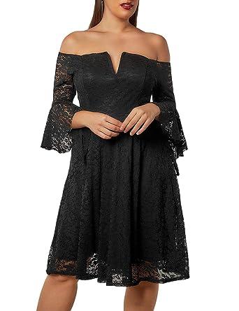 3c5d37bed87 Lalagen Women s Plus Size Off Shoulder Lace Elegant Wedding Party Swing  Midi Dress Black XL