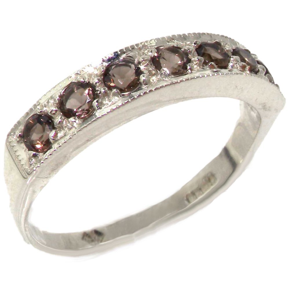 925 Sterling Silver Natural Quartz Womens Band Ring - Sizes 4 to 12 Available