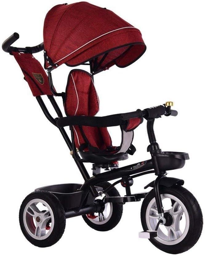 子供三輪車 SONG 1-3-6歳のベビーバイク ベビーカー 子自転車 スイベルシート ハンドル付きオーニング 出て行く乗客のおもちゃ 赤ちゃんの誕生日プレゼント (Color : Red)