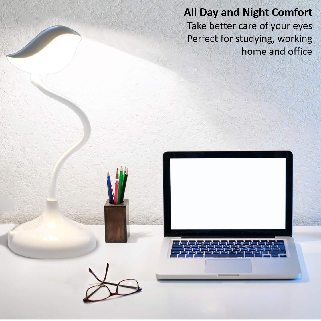 Songbird Reading Table Lamp with Wireless Bluetooth Speaker Touch Dimmable 3-Level Adjustable Brightness Flexible Gooseneck Bedside Lamp Eye-care LED Light with Lithium Battery USB Charge Portable (Warm White)