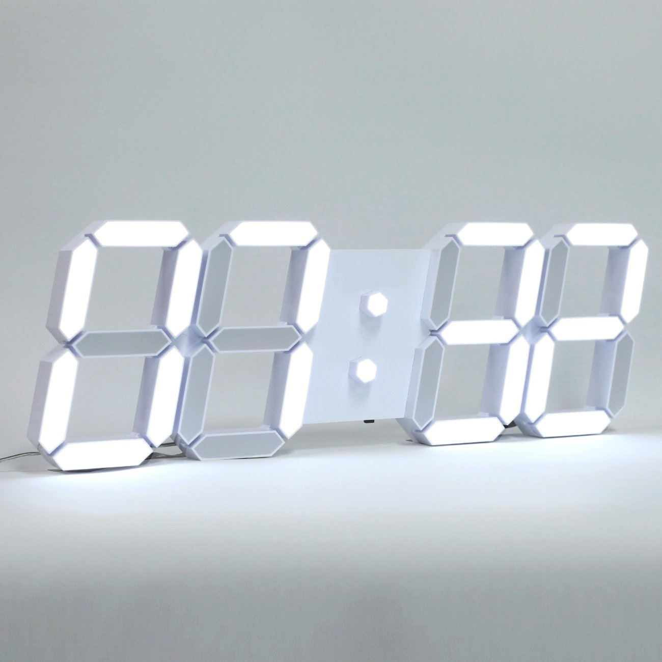 ROIRETNI Modern LED Digital Wall Clock PLUS+ White / Mood Light (White/Cable 3.3m)