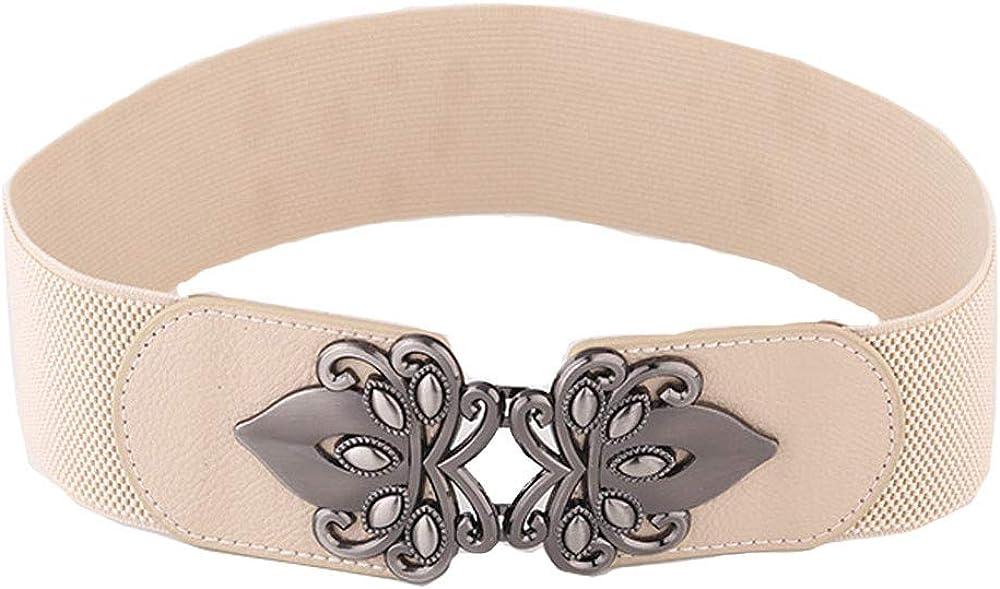 yoyorule Belts Retro Totem Wide Waistband Elastic Stretch Dress Waist Belt Buckle band ladies