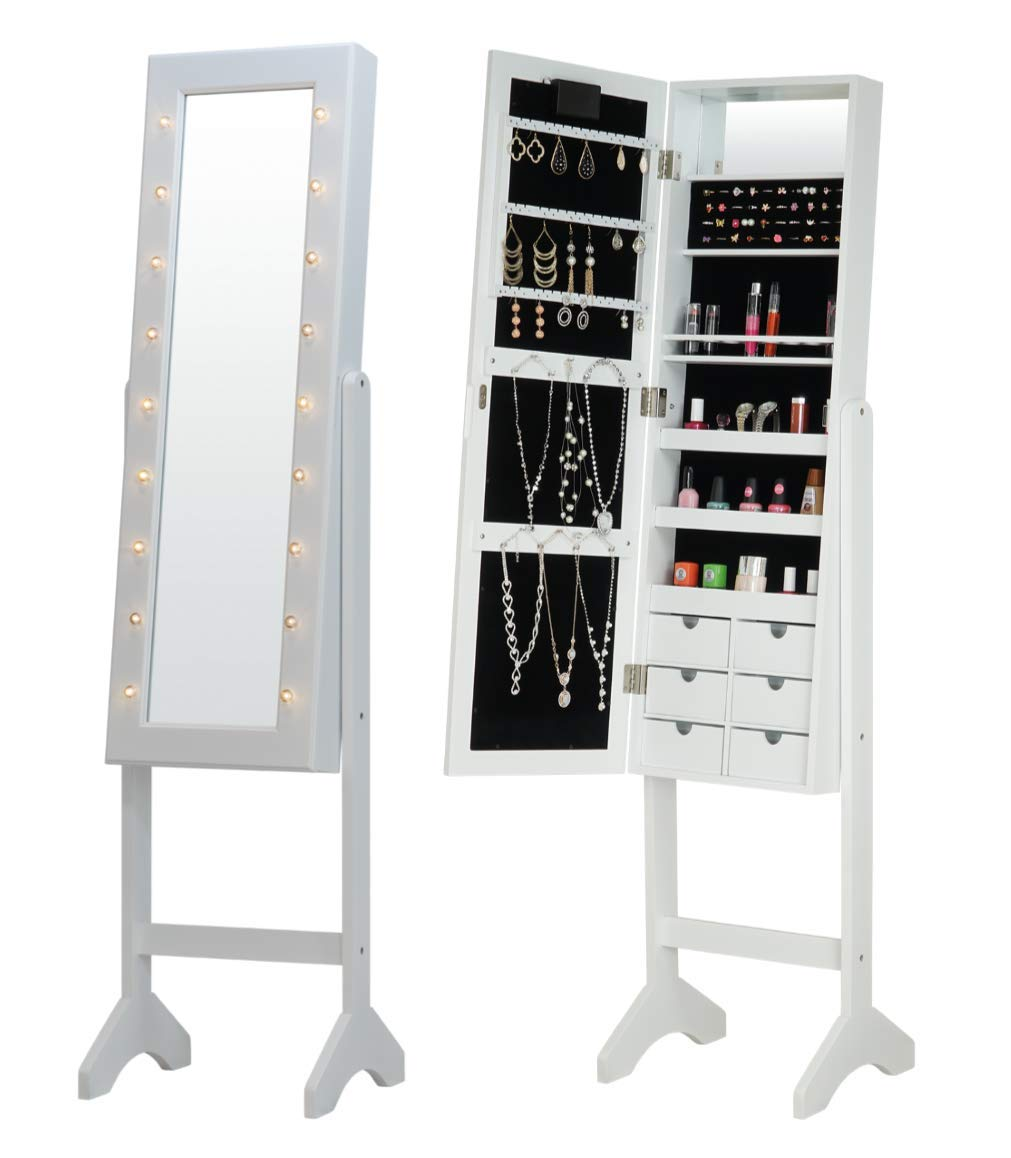 Fineboard FB-JC09-W LED Jewelry Cabinet Organizer with Front Mirror and 6 Small Drawers, White by Fineboard