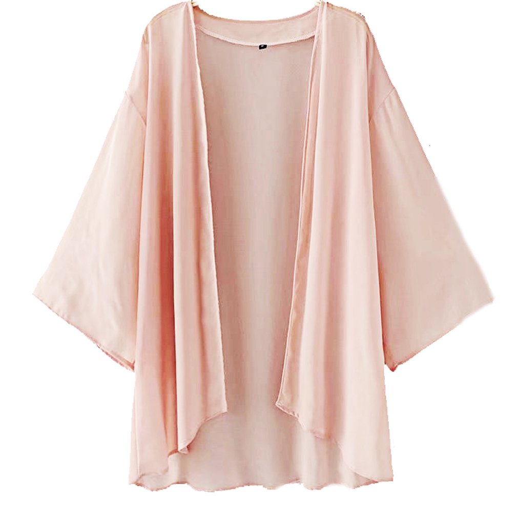 Foreverlove Women's Solid Light Loose Chiffon Sheer Kimono Cardigan Blouses Foreverlove2015
