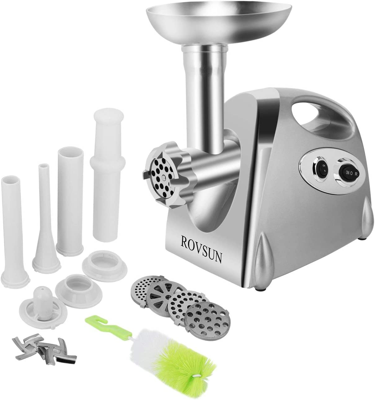 ROVSUN Electric Meat Grinder, 800W Heavy Duty Mincer Sausage Stuffer Food Processor with 4 Grinding Plates 3 Sausage Tubes 2 Stainless Steel Blades Kubbe Attachment & Brush, For Home Use, ETL Listed (Renewed)