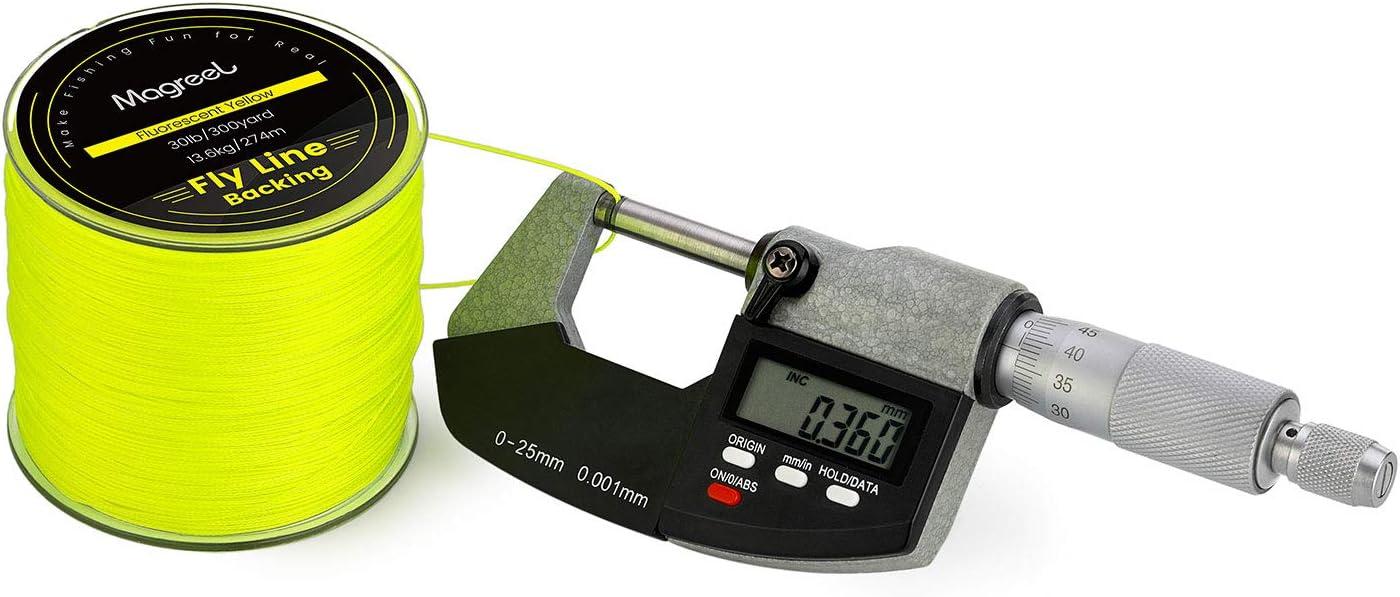 9,1 kg hohe Festigkeit Gelb 91,4 m 13,6 kg Fluoreszierendes Orange Magreel geflochtene Fliegenschnur mit R/ückseite