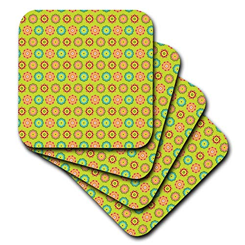 3dRose Anne Marie Baugh - Patterns - Cute and Colorful Mexican Flowers Pattern - set of 8 Ceramic Tile Coasters (cst_295468_4) by 3dRose