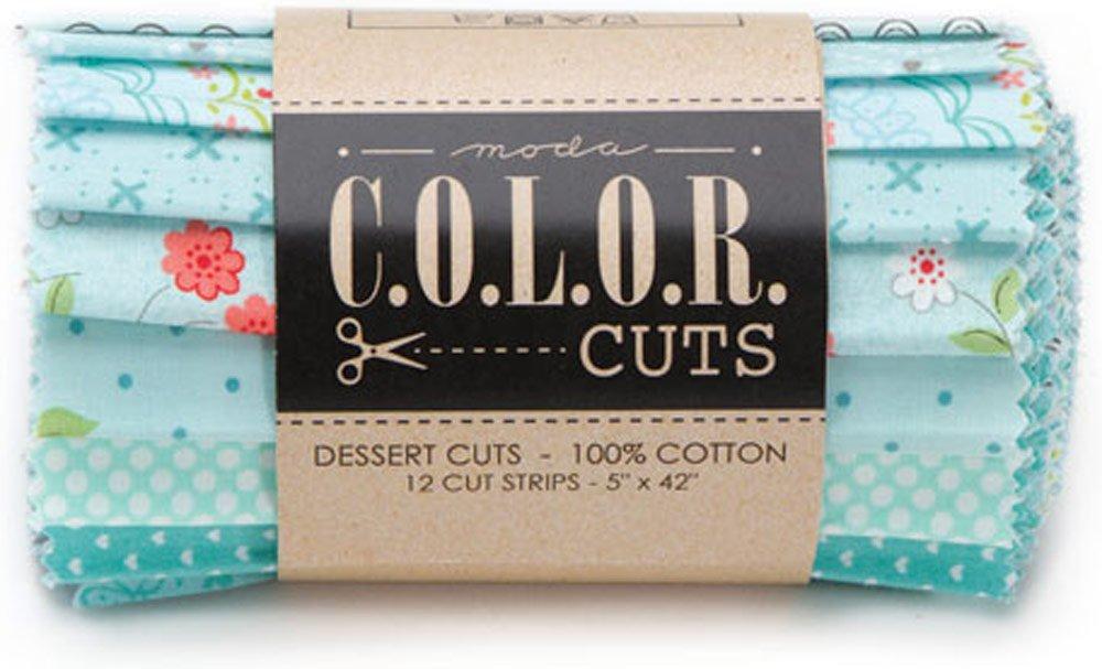 Color Cuts Beach Glass Dessert Cuts 12 5-inch Strips Dessert Roll Moda Fabrics CCDR6