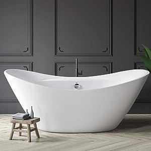 FerdY Acrylic Freestanding Bathtub, F-503 Gracefully Shaped Freestanding Soaking Bathtub, Glossy White, cUPC Certified, Drain & Overflow Assembly Included (ferdy-0503-67)