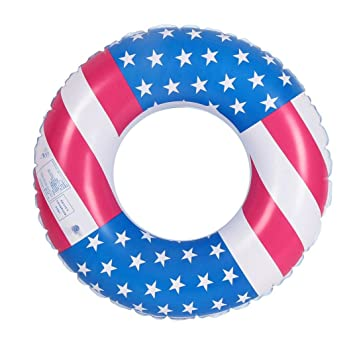 Hunpta@ Anillo Inflable con Bandera de los Estados Unidos, Anillo de Natación, Anillo