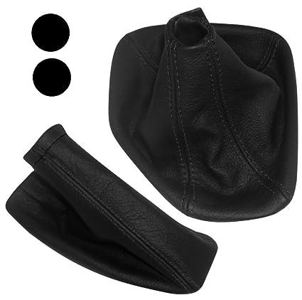 Funda para palanca de cambios y freno de mano de piel genuina negro con costuras negro AERZETIX
