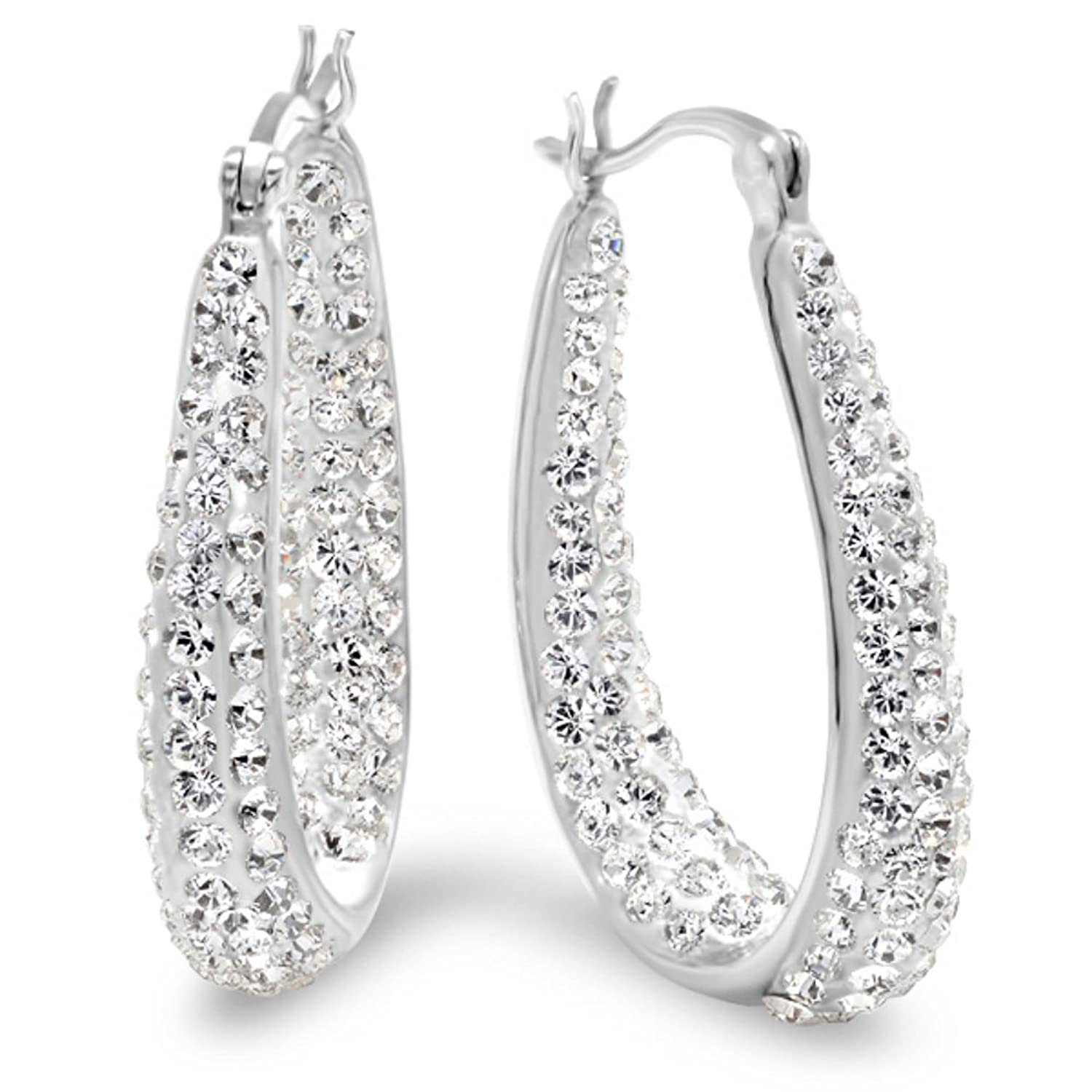 Amazon.com: Sterling Silver Hoop Earrings made with Swarovski ...