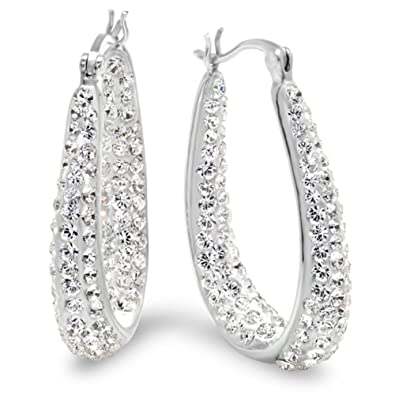 Buy Sterling Silver Crystal Hoop Earrings made with Swarovski Elements  Online at Low Prices in India  400146c8de