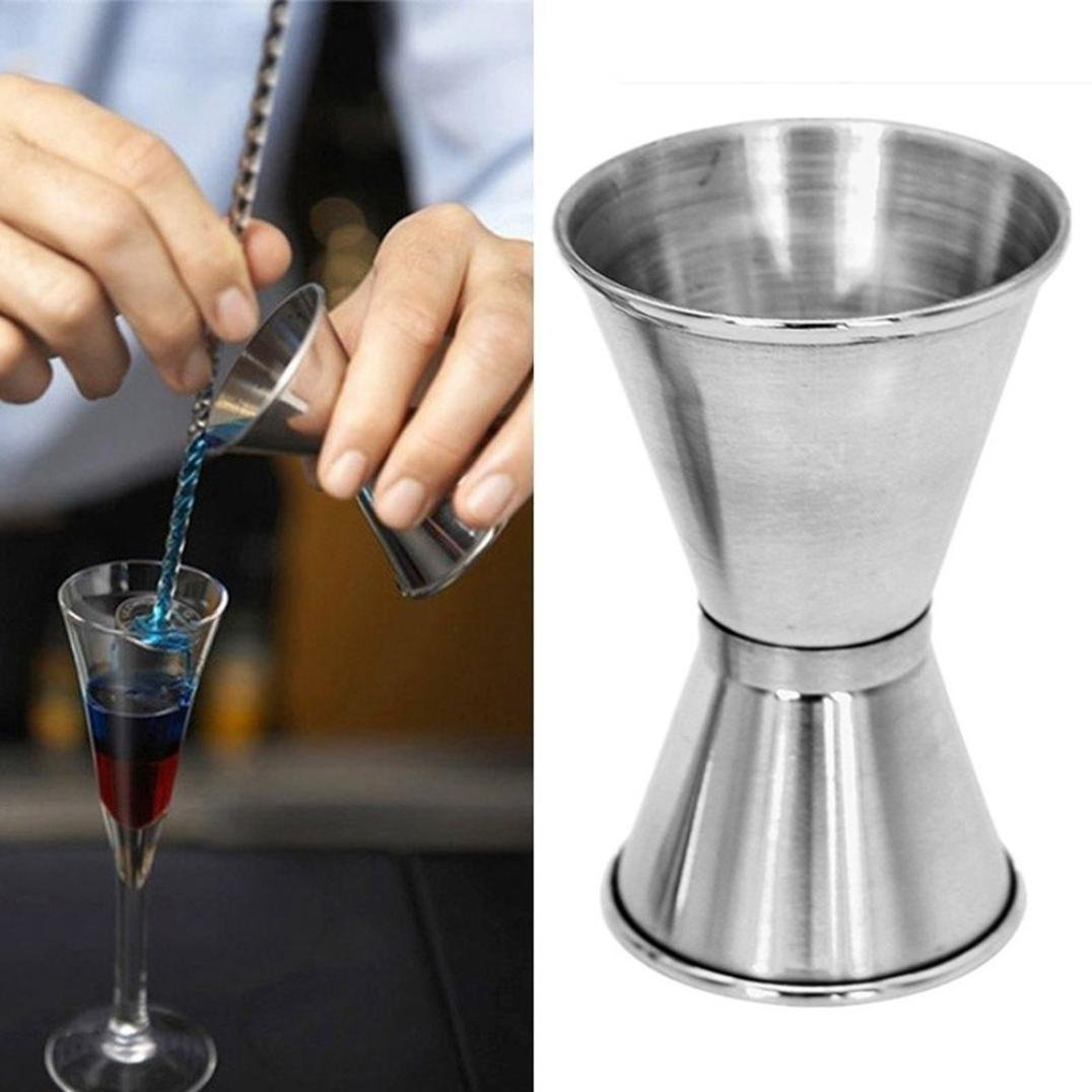 LiPing Double Jigger Set Stainless Steel Cocktail Jiggers Holds -0.5oz/1oz -1oz/1.7oz The Perfect Addition to Your Home Bar Tools. (1oz/1.7oz)