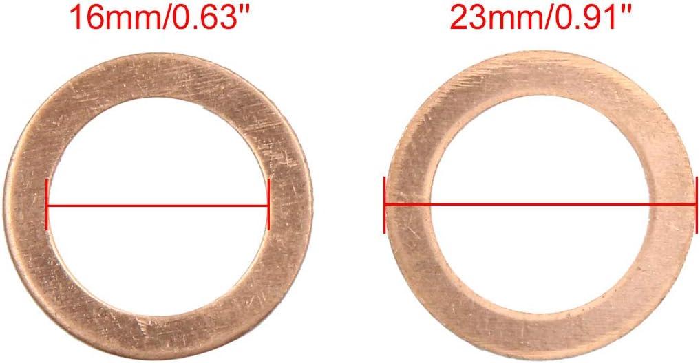 16mm Flach Dichtung Kupferringe Dichtringe Dichtplatte sourcing map Unterlegscheiben 20stk