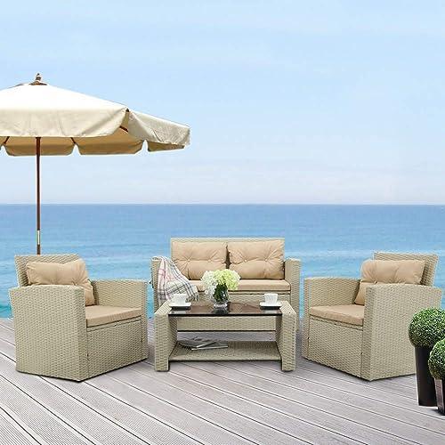 EiioX 4 Pcs Outdoor Sofa Furniture, Patio Conversation Set Rattan Garden Seat Wicker Chair Loveseat w Cushion, Beige