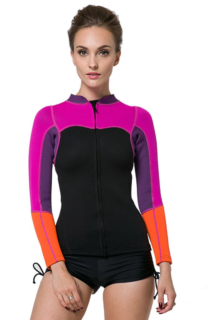 SBART Women's 2mm Neoprene Wetsuits Jacket Long Sleeve Wetsuit Top - Tag Small = US 2XSmall by Sbart